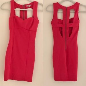 Hot pink bodycon dress with cut out back